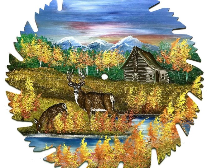Hand Painted Saw Blade Mountain Fall  Whitetail Deer Log Cabin