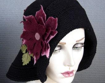 Flapper Style Black Cotton Crochet Cloche On Sale