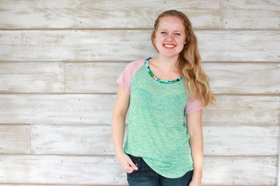 Mint Green Womens Tshirt, Dusty Pink Sleeves, Floral Print Neckline, Womens Summer Tops