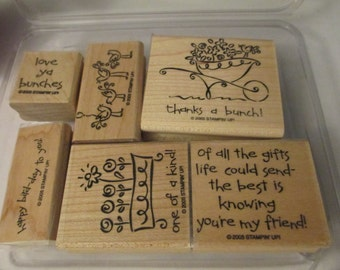6 Stampin' Up Wooden Stamps Thank You Flower Friend Assortment Scrapbooking Craft Supplies Jenuine Crafts