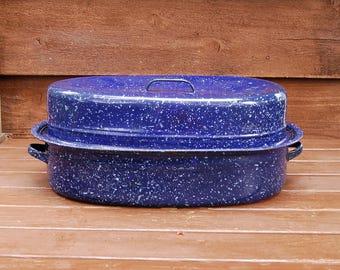 Enamel Roaster Pot, Vintage Enamelware Roasting Pan, Navy Blue Speckled Roaster, Turkey Roaster