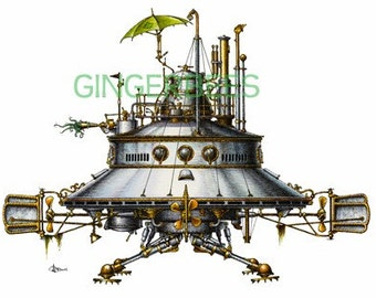 "6 of 12 Fanciful Submarine Giclee Print on Fine Art Smooth Paper (16""x12"")"