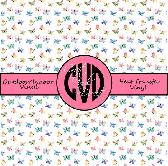 Butterfly Patterned Vinyl // Patterned / Printed Vinyl // Outdoor and Heat Transfer Vinyl // Pattern 738