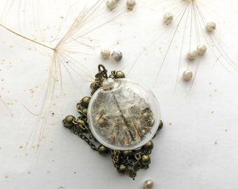 Necklace with blown glass pendant and head-dandelions-dandelion seeds-botanical jewellery with real natural elements