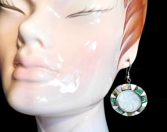 Summery abalone and mother of pearl earrings from Mexico