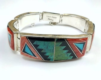 Native American Navajo handmade Sterling Silver inlay Turquoise Spiny Oyster Onyx Opal link bracelet