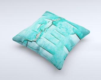 The Peeling Teal Paint ink-Fuzed Decorative Throw Pillow