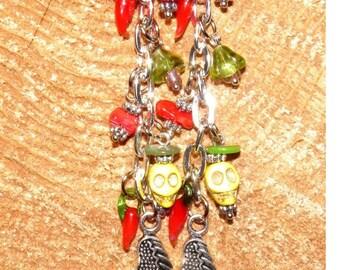 Day of the Dead Earrings, Sterling Silver Halloween Angel Skull Jewelry, Dia de los Muertos Day of the Dead Jewelry, Goth Halloween Earrings