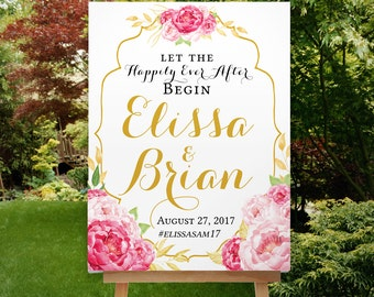 Printable Wedding Welcome Sign, Blush Pink Gold, Romantic, Elegant Reception Sign, Floral Wedding Welcome Sign, Boho, The Stinson