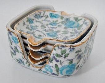 Vintage Royal Crown Ashtray Set - 4 ashtrays plus caddy - 1950s - blue flowers, gold trim, retro, smoking trays, mid century, porcelain