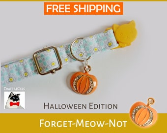 Cat collar breakaway, kitten collar 'Forget-Meow-Not', safety collar for cat, collar de gato, yellow cat collar, pretty cute cat collar