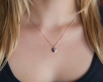 Tiny Rose Gold Necklace Dainty Rose Gold Necklace Tiny Disk Necklace Tiny Rose Gold Disk Simple Necklace Everyday Necklace Rose Gold Necklac
