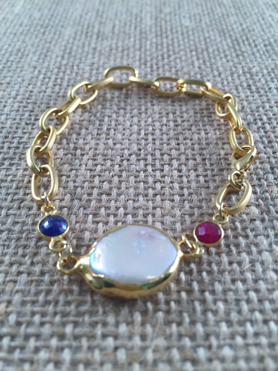 Gold Link Chain Bracelet with ruby , sapphire and baroque freshwater pearl, lobster clasp, 22k gold plated , 7.5 inch length (18.5 cm)