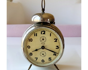 Vintage Large Alarm Clock German desk clock Working Kienzle 1950's one bell clock Mechanical collectible Old metal table clock Rustic decor