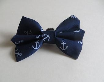 Anchor Nautical Blue Sailor Dog Bow Tie