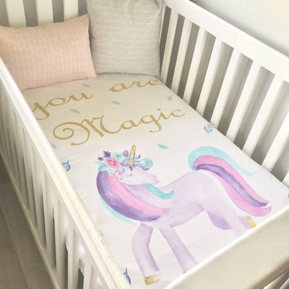 Baby Cot Crib Quilt Blanket You Are Magic Watercolour