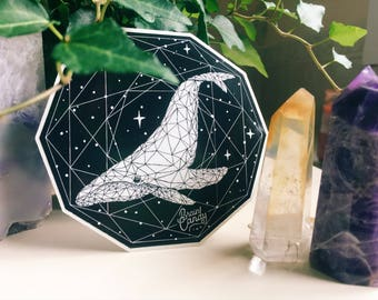 Sacred Whale Sacred Geometry Sticker - Space Sticker - Laptop Sticker - Car Sticker - Waterproof Vinyl Sticker