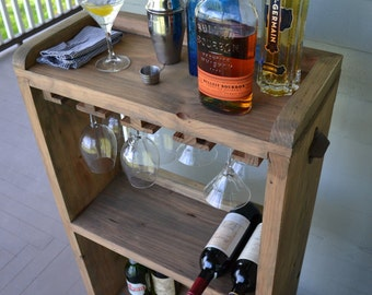 Rolling Bar Cart Wine Rack, Kitchen Bar, Reclaimed Wood Bar, Small Bar Cart With Wine Glass Rack, Special Price Ready to Ship, Free Shipping