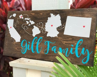 CUSTOM state sign | state sign | wedding gift | state to state | wedding sign | last name sign | name sign | custom sign | states connected