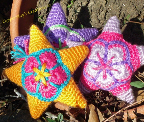 Crochet Star Pattern Amigurumi Star applique star ornament