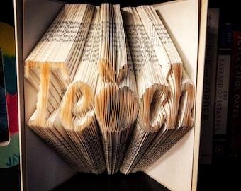 Book Sculpture-save-the-date-Teach origami book fold--Book art--Teacher gift