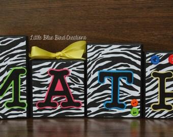 Classroom decor - wood blocks - math class - teacher gift - end of the year gift