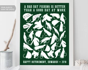 Retirement Guest Book Alternative / Retirement Party / Fly Fishing Lures, Nymphs, Flies, Happy Retirement Gift ▷Canvas, Paper {or} Printable