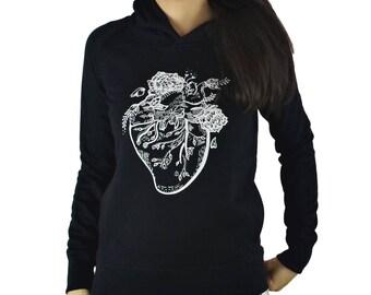 Floral heart hoodie. Black hoodie. Organic cotton hoody. Heart Graphic hoodie. Organic Cotton. Clothing. Women's hoody.