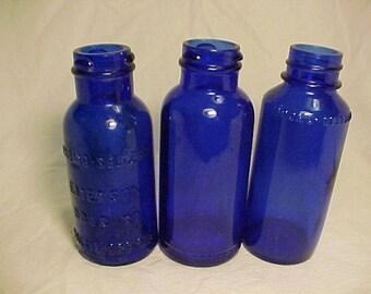 Set of Three c1920-40s Bromo Seltzer Emerson Drug Co. Baltimore, MD., Cobalt Blue Twist Top Bottles No.1