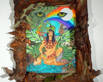 Ix Chel  The Mayan Rainbow Goddess Large Shrine with Framed Giclee Fine Art Print Illustration - Free Shipping