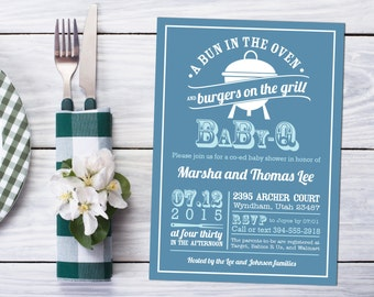 """BBQ Baby Shower Invitation Design """"Bun in the Oven - Burgers on a Grill"""" Summer Party - New Baby Couples or Kitchen Shower Printable Invite"""