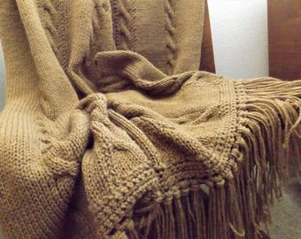 New Handmade Knitted CABLE  Afghan (throw or blanket)  Beautiful   cable with lots of fringe   Ready to ship