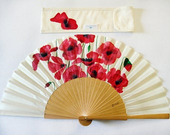 """Hand painted with matching sheath Fan """"Field of poppies"""""""