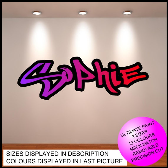 Personalised Custom Graffiti Name Wall Art Stickers Decor For - Custom vinyl wall decals graffiti