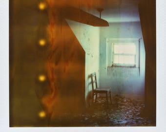 Polaroid Print - Abandoned Hospital Chair/Window/Flames