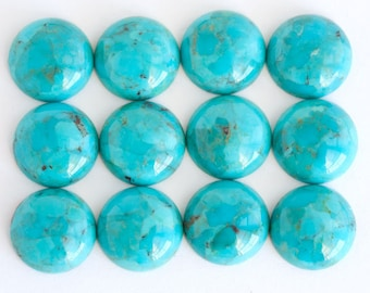 Round Turquoise Cabochons ONE 12mm American Round Blue Turquoise Cabochon with Matrix