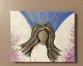 8x10 inch acrylic painting of an angel