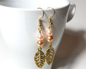 Blush Pearl Gold Leaf Dangle Earrings