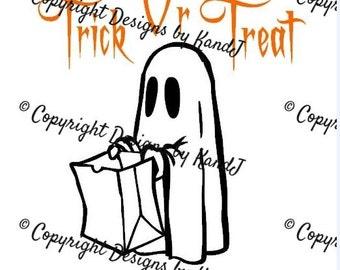 Trick or Treat Ghost Halloween Svg File Digital cut file- Instant Download