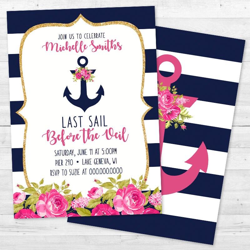 Last Sail Before the Veil - Floral Nautical Anchor Bachelorette ...