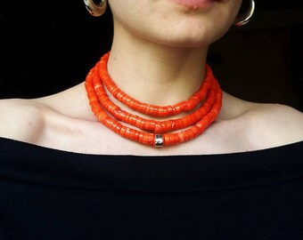 Red Coral Necklace Antique jewelry Necklace Red Coral Beads Coral Necklace Collares Etnicos Coral Jewelry Vintage Ukrainian Necklace Coral 2