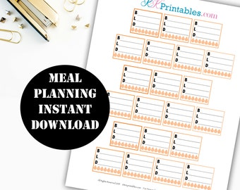 Meal Planning Printable Planner Stickers // Erin Condren Printable / Planner Instant Download / Planner Insert Digital Download 00110