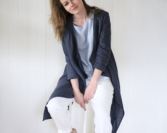 Washed Linen Cardigan / Women's Jacket / Stylish Linen Coat / Elegant Summer Cardigan / Handmade Soft Linen Top | Maternity Cardigan