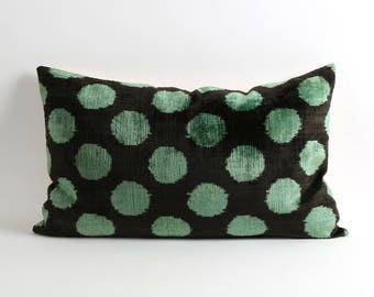 ikat pillow, velvet ikat pillow cover, green polka dot ikat pillow, 16x26 polka dot pillow, decorative pillow, accent pillow, ikat bedding