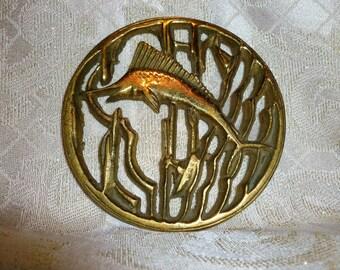 Brass Vintage Swordfish Trivet Solid Brass
