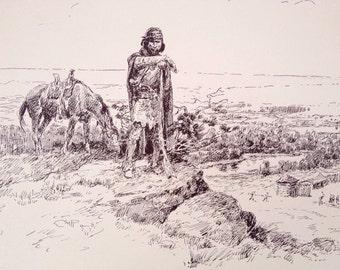 First White Habitation Print, Charles Russell Sketch Montana Print, CM Russell Art Print, Cowboy Art Print, Collectible Art, Wild West Print