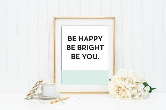 KATE SPADE Be Happy Be Bright Be You Mint And Coral Wall Art