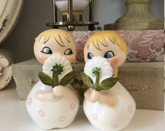 Holt Howard Daisy Dorable Salt & Pepper Shakers/Vintage Shakers/Ponytail Girl