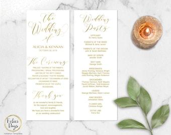 Gold Wedding Program Template Editable, DIY Wedding Program, Wedding Program Printable, Gold Ceremony, PDF Instant Download GW180 -3