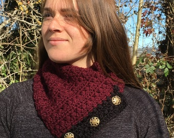 fancy burgundy cowl w/golden buttons